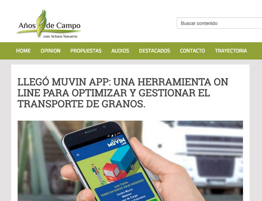 Llegó Muvin App: una herramienta on line para optimizar y gestionar el transporte de granos.