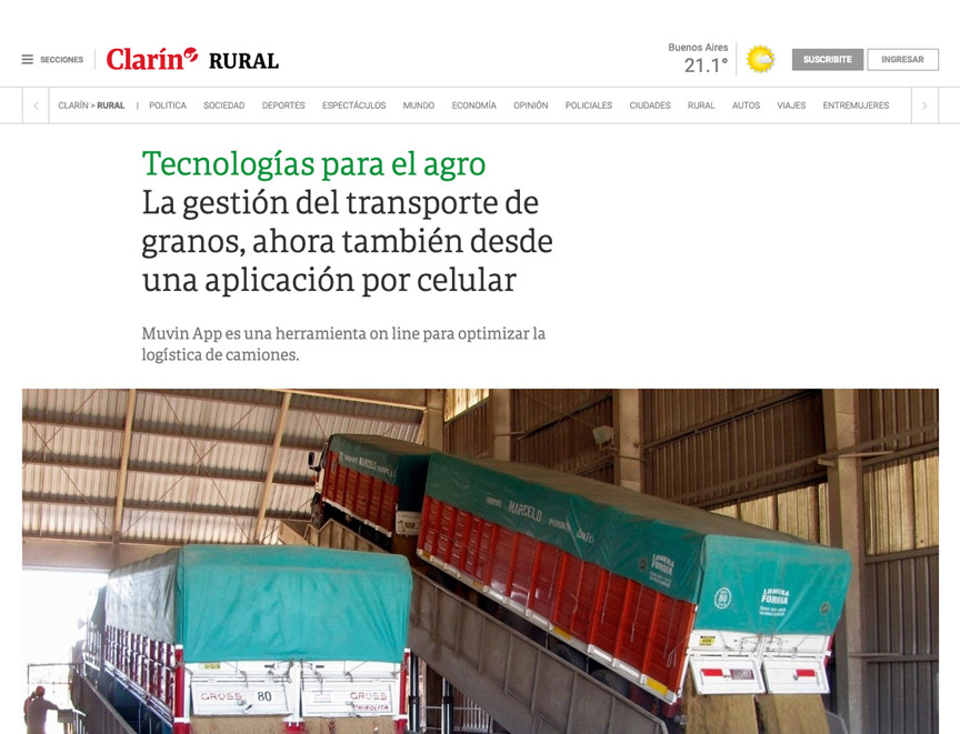 Tecnologías para el agro La gestión del transporte de granos, ahora también desde una aplicación por celular