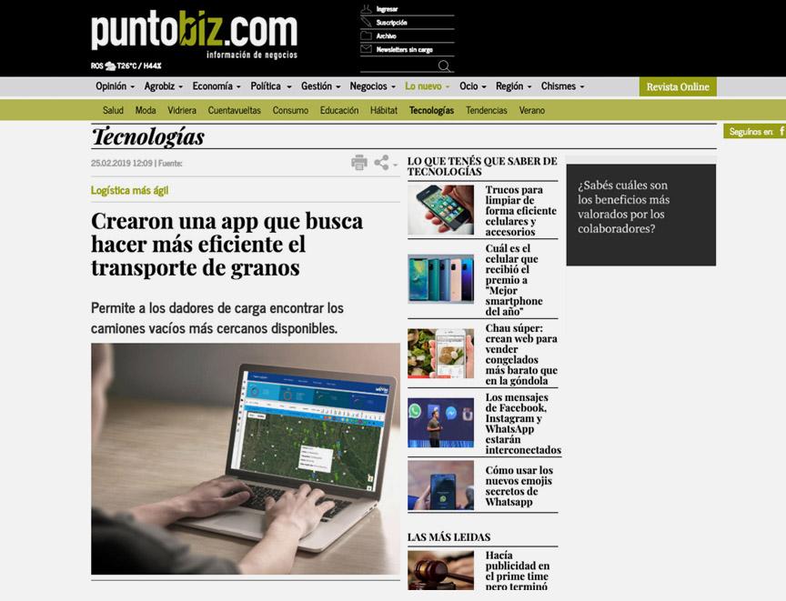 Crearon una app que busca hacer más eficiente el transporte de granos.