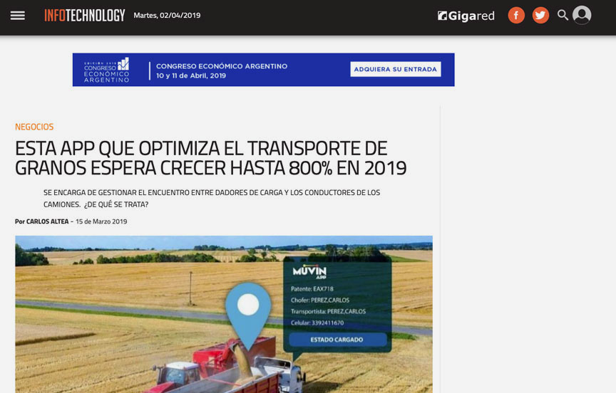 Esta App que optimiza el transporte de granos espera crecer hasta 800% en 2019.