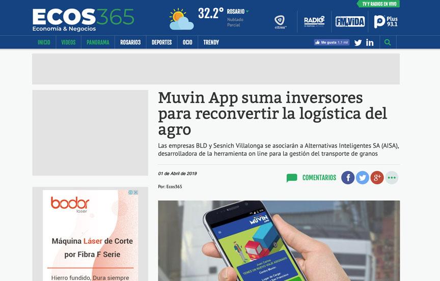 Muvin App suma inversores para reconvertir la logística del agro.